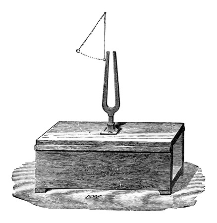 resonator: Production of Sound by the Vibration of a Tuning Fork, vintage engraved illustration. Industrial Encyclopedia - E.O. Lami - 1875
