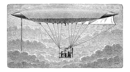 aerostat: Aerostat, vintage engraved illustration