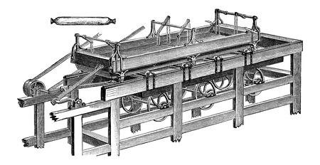 buffing: Polishing Table, vintage engraved illustration