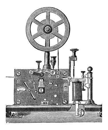 morse code: Printing Electrical Telegraph Receiver, vintage engraved illustration