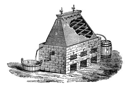 Duitse Apparatuur voor de distillatie van urine, vintage gegraveerde illustratie