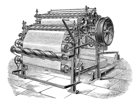 Paper Machine with Two Cylinders, vintage engraved illustration