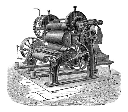 industrial machine: Paper Machine with Three Cylinders, vintage engraved illustration. Industrial Encyclopedia - E.O. Lami - 1875