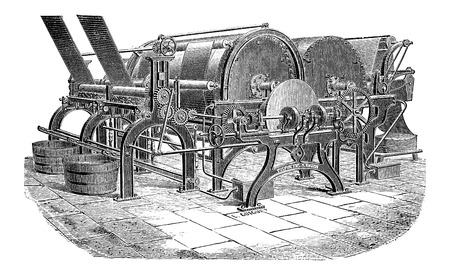 drying: Paper Machine with Drying Cylinders, vintage engraved illustration
