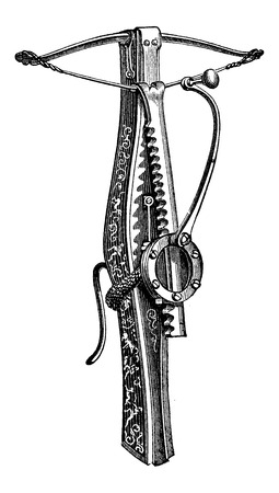 Cranequin, un tipo de ballesta, ilustración de la vendimia grabado Foto de archivo - 37385859