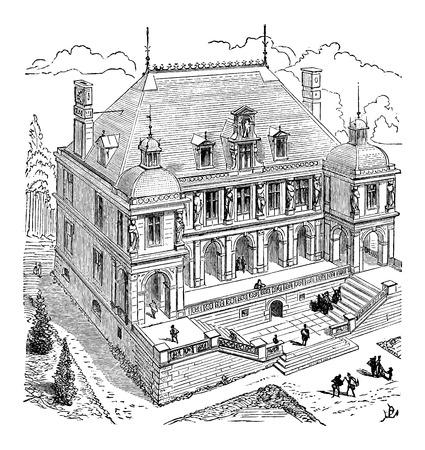 french renaissance: French Renaissance Hotel, vintage engraved illustration. Industrial Encyclopedia - E.O. Lami - 1875