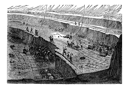 overburden: Open-pit Mining, vintage engraved illustration. Industrial Encyclopedia - E.O. Lami - 1875