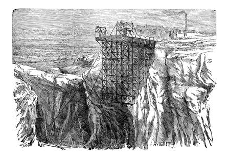 Mountainside: Górnictwo Instalacja na klifie, vintage grawerowane ilustracji. Przemysłowe Encyklopedia - EO Lami - 1875