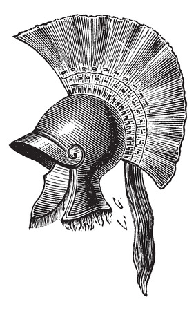 Old engraved illustration of Greek helmet criniere de cheval isolated on a white background. Industrial encyclopedia E.-O. Lami ? 1875. Çizim