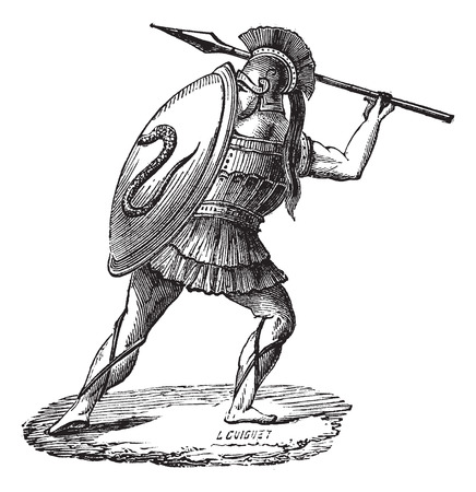 Old engraved illustration of the Greek soldier with his armor. Industrial encyclopedia E.-O. Lami ? 1875.