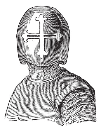 Old engraved illustration of Hughes Helmet, Viscount de Chalons isolated on a white background. Industrial encyclopedia E.-O. Lami ? 1875.  イラスト・ベクター素材