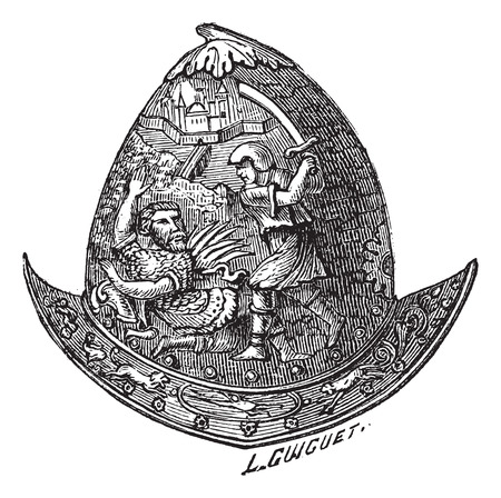 Old engraved illustration of Morion helmet isolated on a white background 向量圖像