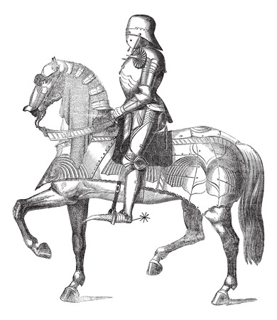knight helmet: Knight on a horse vintage engraving