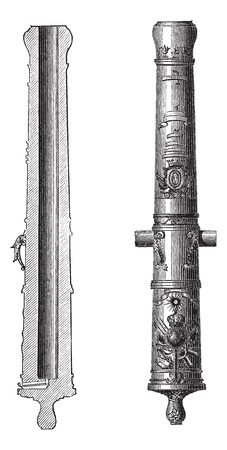 louis: Old engraved illustration of Cannon 24 (artillery) of Louis XIV isolated on a white background