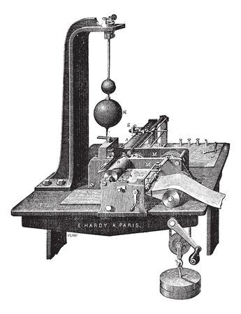 copying: Old engraved illustration of Copying Telegraph of Bernhard Meyer