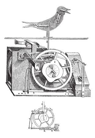 reloj cucu: Ilustración del Antiguo grabado de reloj de cuco con sus partes interiores aislados en un fondo blanco Vectores