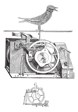 Old engraved illustration of cuckoo clock with its inner parts isolated on a white background