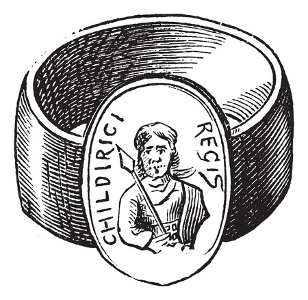 ring finger: Old engraved illustration of children finger ring of roman period isolated on a white background Illustration