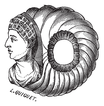 antiquity: Old engraved illustration of roman ring isolated on a white background