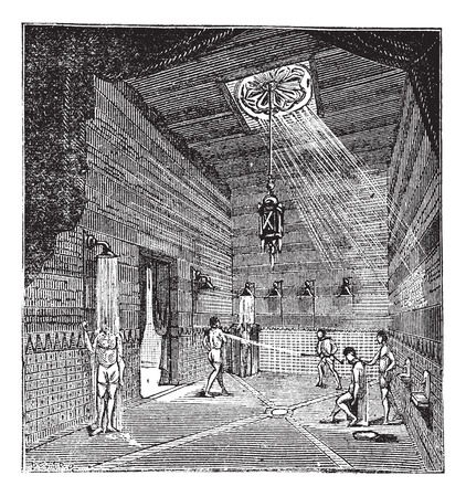 Old engraved illustration of the roman period Shower room with people bathing inside it Ilustração