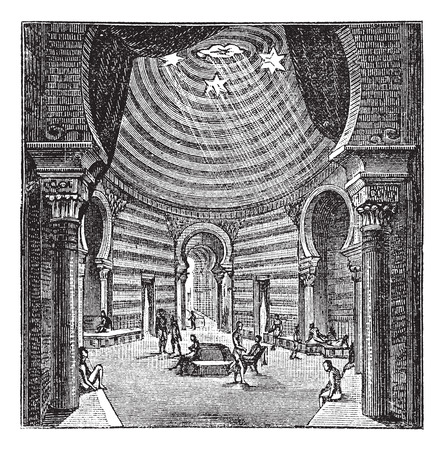 Old engraved illustration of the roman period Tepidarium with people relaxing inside it