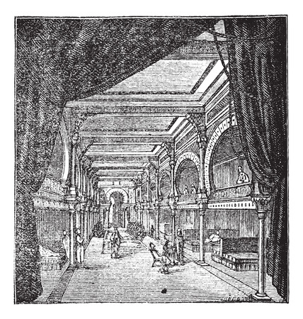 period: Old engraved illustration of the roman period room for rest with people resting inside it Illustration