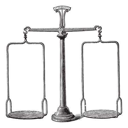 antique weight scale: Old engraved illustration of Balance scale isolated on a white background Illustration