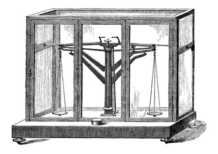 balance beam: Precision Balance, vintage engraved illustration