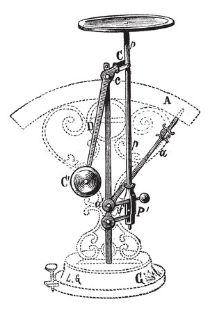 weighing scale: Old engraved illustration of Letter scale isolated on a white background Illustration