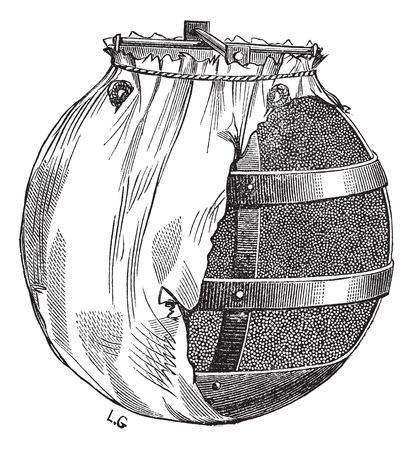 disastrous: Old engraved illustration of bomb or fire bomb isolated on a white background