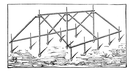 Iron Frame of a Tent, vintage engraved illustration