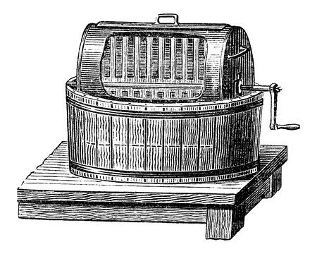 butterfat: Butter Churn, vintage engraved illustration