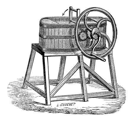 butterfat: Rowan Butter Churn, vintage engraved illustration