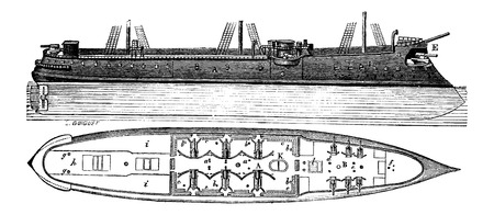Colbert, a French Ironclad Ship, vintage engraved illustration. Industrial Encyclopedia - E.O. Lami - 1875 Illustration