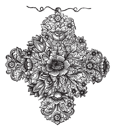 gold cross: Old engraved illustration of the gold cross of the seventeenth century french work, isolated on a white background. Industrial encyclopedia E.-O. Lami - 1875.