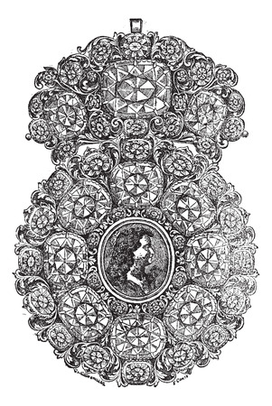 embellished: Old engraved illustration of Brooch with portrait in it from the work of jewels J. B. F., 1723, isolated on a white background. Industrial encyclopedia E.-O. Lami - 1875. Illustration