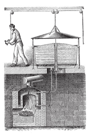 laundering: Old engraved illustration of fixed washing machine with detergent fixture fixed on it. Industrial encyclopedia E.-O. Lami - 1875.