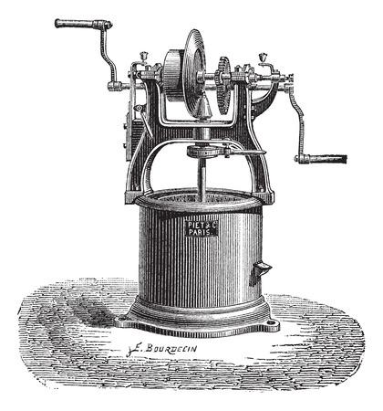 Old engraved illustration of Spin dryer. Industrial encyclopedia E.-O. Lami - 1875.