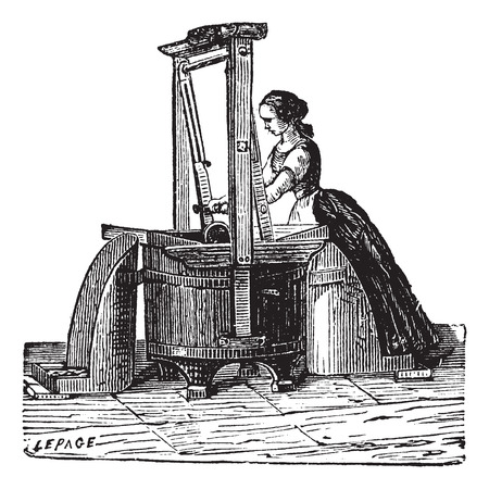 washing clothes: Old engraved illustration of a washerwoman washing clothes outside. Industrial encyclopedia E.-O. Lami - 1875.