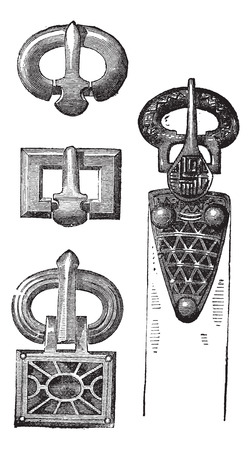 Old engraved illustration of old belt buckles of Merovingians isolated on a white background. Industrial encyclopedia E.-O. Lami - 1875.