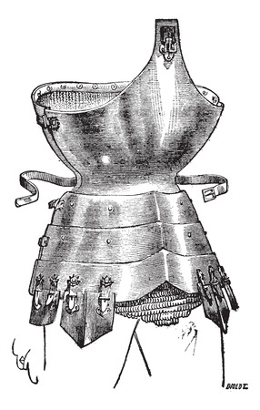 century: Old engraved illustration of corselet of iron from the fifteenth century, isolated on a white background. Industrial encyclopedia E.-O. Lami - 1875.