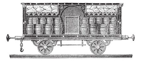 transporting: Old engraved illustration of iced beer barrels on wagon for transporting. Industrial encyclopedia E.-O. Lami - 1875.