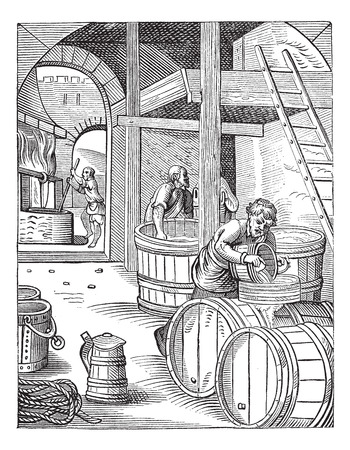 Old engraved illustration of three brewer of the sixteenth century working in the factory. Industrial encyclopedia E.-O. Lami - 1875. Vectores