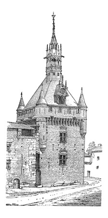 fortified: Keep of the Capitol of Toulouse in Haute-Garonne, France, vintage engraved illustration. Industrial Encyclopedia - E.O. Lami - 1875