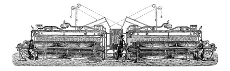 industrial machine: Embroidery Machine, vintage engraved illustration. Industrial Encyclopedia - E.O. Lami - 1875 Illustration