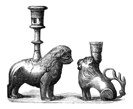 candleholders: Bronze Candleholders with animal design, during the 14th century, vintage engraved illustration. Industrial Encyclopedia - E.O. Lami - 1875