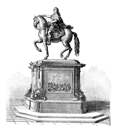 Bronze Statue of King Louis XV of France mounted on a horse, vintage engraved illustration. Industrial Encyclopedia - E.O. Lami - 1875