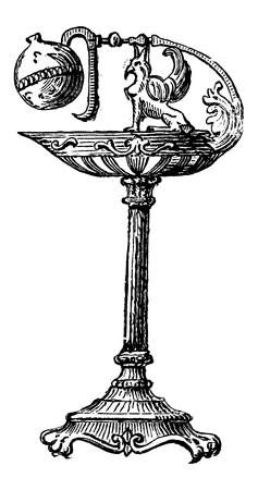 napoleon: Bronze Oil Lamp by Percier et Fontaine, during the time of Napoleon I, vintage engraved illustration. Industrial Encyclopedia - E.O. Lami - 1875