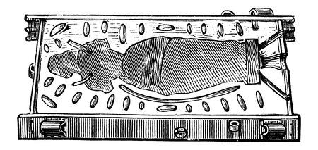 Back view of a Mould Pattern in the shape of a woman, vintage engraved illustration. Industrial Encyclopedia - E.O. Lami - 1875