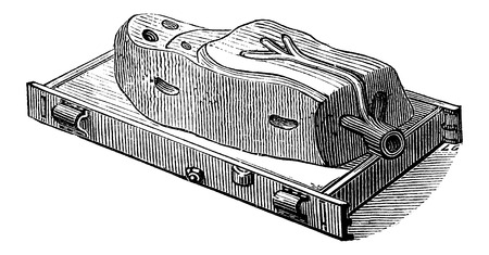 moulding: Mould with cover removed, vintage engraved illustration. Industrial Encyclopedia - E.O. Lami - 1875